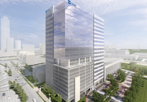 The BBVA Compass Plaza will host Houston Galleria office space on its mid-level floors and restaurants on the ground floor.